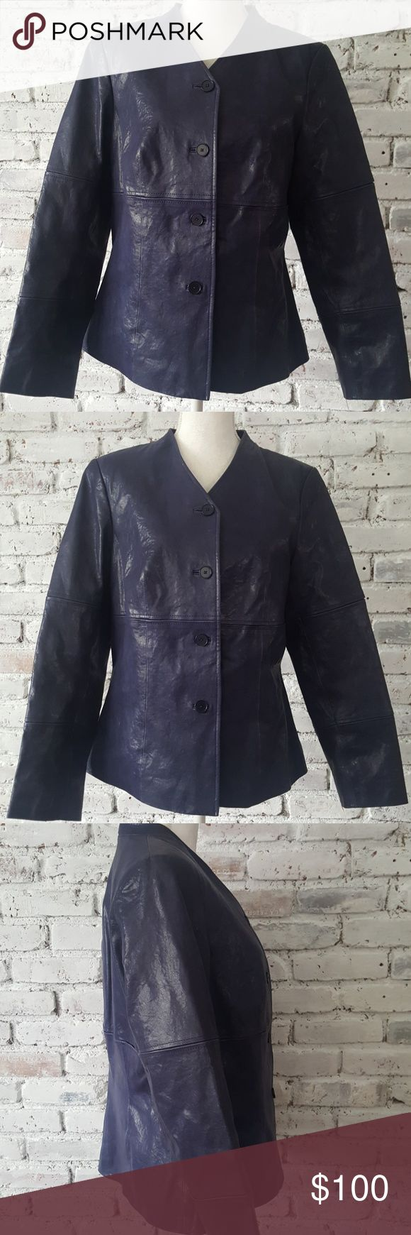 Don Caster Purple Leather Jacket sz 12 Purple lovers will love this jacket. In good condition ladies. Only minor small flaws to point out  pictured in last pic. Where measuring tape ends jacket had small belt loops on each side , in thin material that I cut out I didn't like it with the belt when I first purchased it.  U can barely see a trace that it was there but I'm pointing it out. Light scratch mark on upper right neck area. Very stylish, unique looking purple leather jacket.  Shop with…