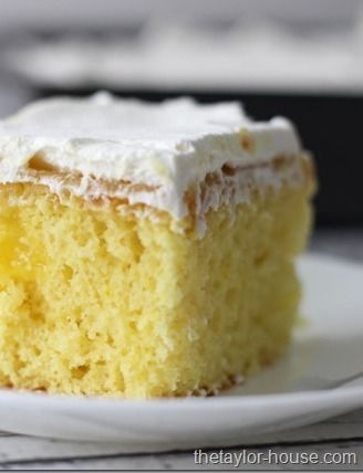 All you need to make this yummy Lemon Poke Cake for dessert is a bag of cake mix, lemon pudding, and whipped topping. Easy peasy!