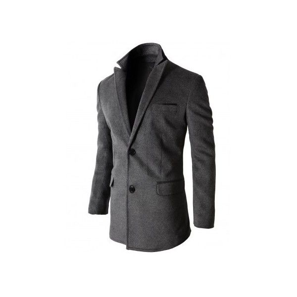 Mens Single Wool Coat With Peak Collar Two Button Handkerchief Pocket... (400 BRL) ❤ liked on Polyvore featuring men's fashion, men's clothing, men's outerwear, men's coats, men, menswear, mens fur collar coat, mens coats, mens wool outerwear and mens wool coats