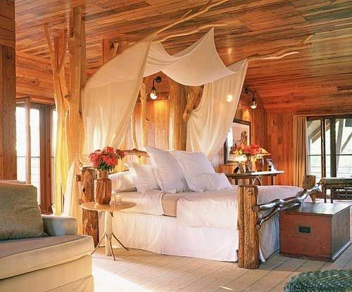 Rustic Romantic Bedrooms | Rustic, romantic bedroom - love the unfinished wood. The branches are ...