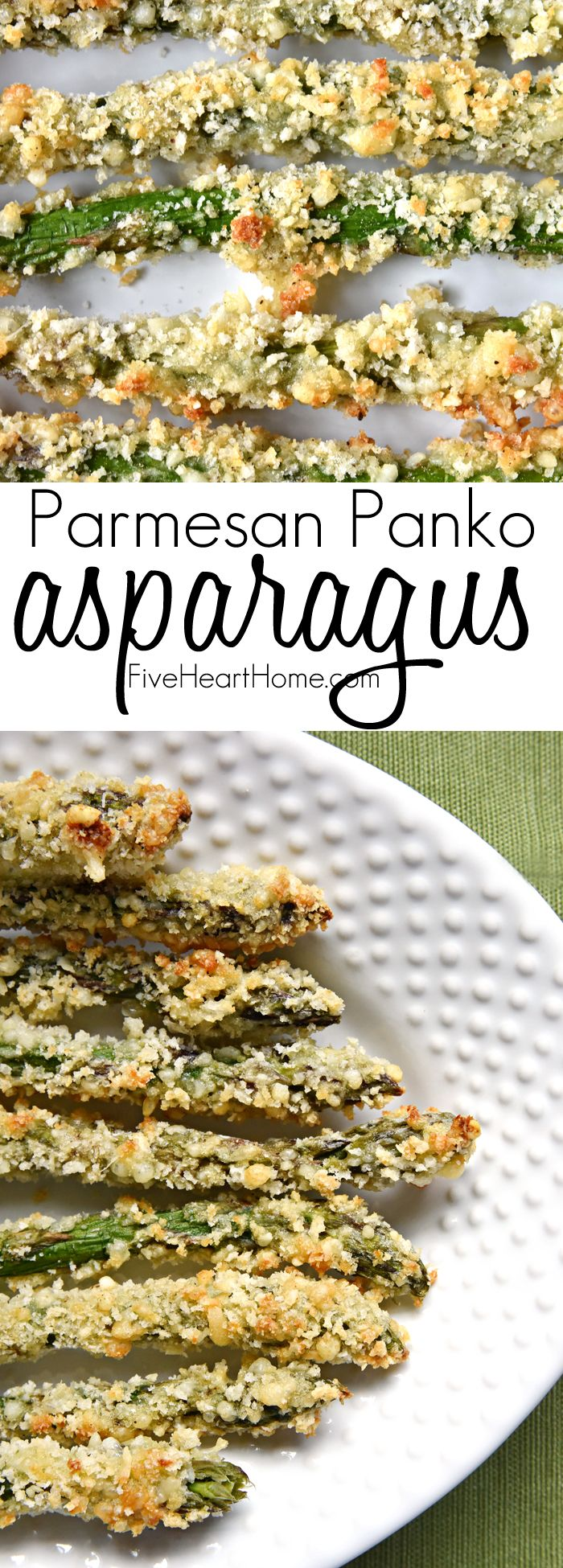 "Parmesan Panko Asparagus ~ fresh asparagus spears are coated in a mixture of grated Parmesan and panko breadcrumbs and baked until crispy and golden brown for an addictive, healthy, ""asparagus fries"" side dish or snack 
