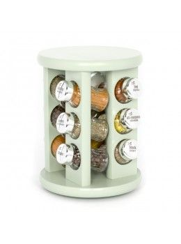 KitchenRax have created a beautiful range of revolving carousel spice racks in an array of colours and sizes for a practical and striking way to store your spices. This is the 12-Spice Revolving Spice Rack in Sage Green!