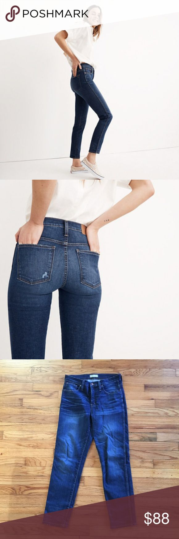 """Madewell Slim Straight Jeans in William Wash EUC jeans. Only worn a handful of times.   At once relaxed and refined, these just-right straight jeans have a French-lady-with-a-capsule-wardrobe feel. Plus, the 9 1/2"""" rise has an extra layer of holds-you-in sorcery in front, thanks to our supersleek Magic Pockets.. * Premium 88% cotton/8% poly/4% elastane denim  * Inseam: 28 1/2""""; leg opening for size 25: 12 1/4"""" Madewell Jeans Straight Leg"""