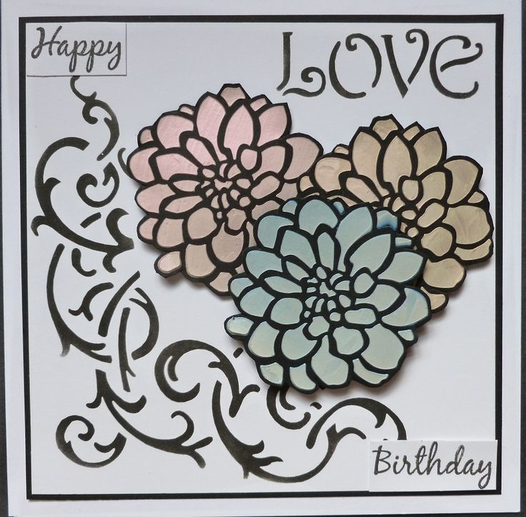 'Happy Birthday Dahlias' card - Imagination Craft's-Fabric Relief paints-metallic red, blue & orange.  Metal spatula.  Med/smal Dahlia stencil.  Mixed media  art stencil no. AS-541.  (Perfume bottle).  Magi-bond glue.    June 2017.  Designed by Jennifer Johnston.