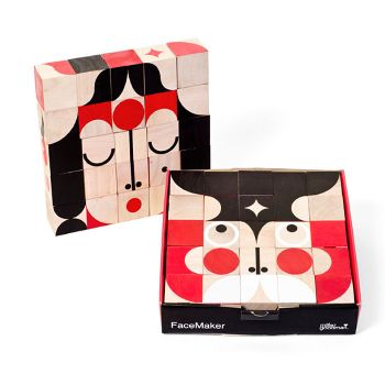 MillerGoodman Mini Facemaker Puzzle: A mini version of the award winning Facemaker toy from the brilliant Miller Goodman design duo. Children and adults alike will delight in creating funny faces from the 25 hand-printed, multi-faceted wooden blocks made from sustainable rubberwood. Each block size is 25mm (compared to the original size of 40mm) so it's more portable and more tactile for smaller hands. It comes in a sturdy box with a little booklet to give you some great ideas. We think it's…