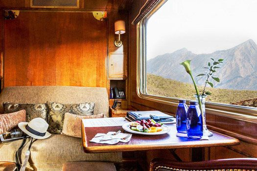 Luxury carriage on the Blue Train. Photo by bluetrain.co.za