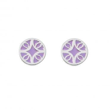 """Florence Earrings in Silver with Purple - Get 25% off these earrings with code """"foxypin"""" www.foxyoriginals... Tags: silver jewelry, imaginary voyage, silver, studs, foxy originals, Florence inspired"""