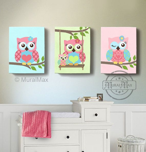 Owl Baby Nursery Canvas Print for any girls room. This is a set of three 8 x 10 Owl Canvas Prints... This beautiful design includes three owl prints. The colors for this artwork are: Purple/Aqua/ Green Send me a message via ETSY conversations with any questions.  This print is my original design . All prints are sold signed. The image wraps around the sides of the wooden frame canvas, and is ready to hang. This design adds dimension, and interest from any viewing angle. Made with high…