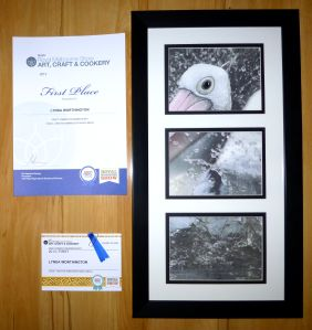"""So exciting to receive first prize for my textile art at the Royal Melbourne Show.  """"Splash"""" - a pelican, printed onto fabric & free machine embroidered. #embroidery #pelican #textileart www.lyndaanne.com  lyndaanne.wordpress.com"""