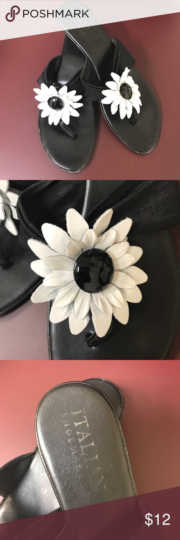 Ladies sandals Ladies Italian shoe maker brand dressy flip flop sandal-with leather flower decor-Ladies size 9-the strap on top of foot has some stretch to it. Sandals in excellent condition!! Italian Shoe Maker Shoes Sandals