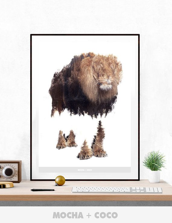 Blind Lion Poster | Motivational Mordern Wall Art, Startup Corporate Decoration, Printable Mocha + Coco, INSTANT DOWNLOAD