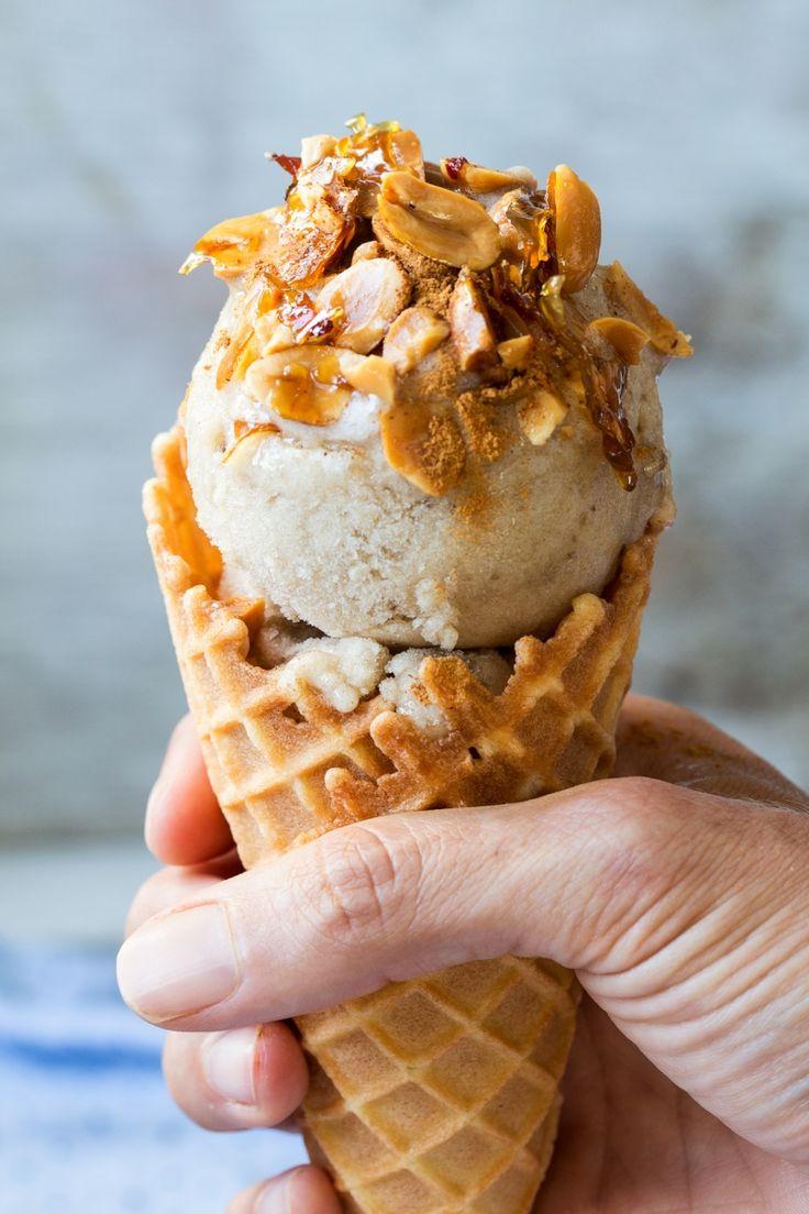 vegan banana ice cream cone