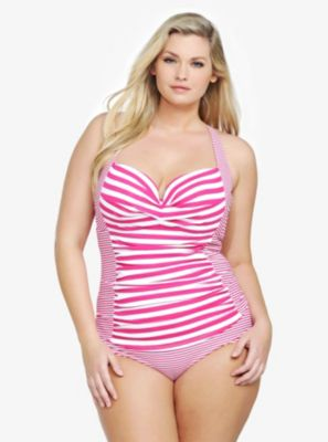 Striped Natural Support One-Piece Swimsuit