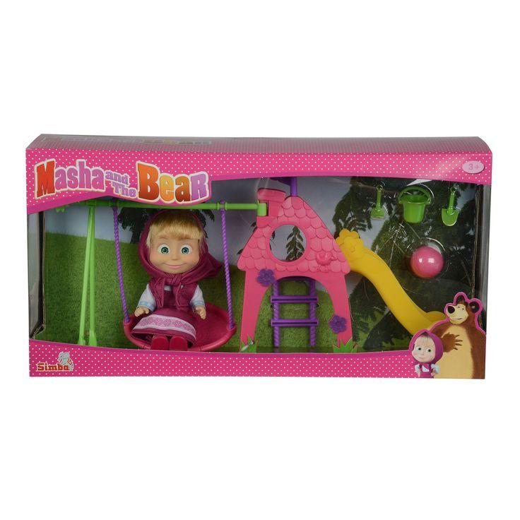Beleef de leukste avonturen met Masha in de speeltuin. Verbind de schommel aan het speelhuisje en duw Masha op de schommel heen en weer. Na het schommelen klim je in het speelhuisje glijd je van de glijbaan of speel je met de bal in het veldje of maak je zandkastelen in de denkbeeldige zandbak. De set is gemaakt van stevig kunststof en bevat een mini pop van Masha in haar favoriete kleding. Afmeting: verpakking 32 x 16 x 9 cm - Masha en de Beer Speeltuin