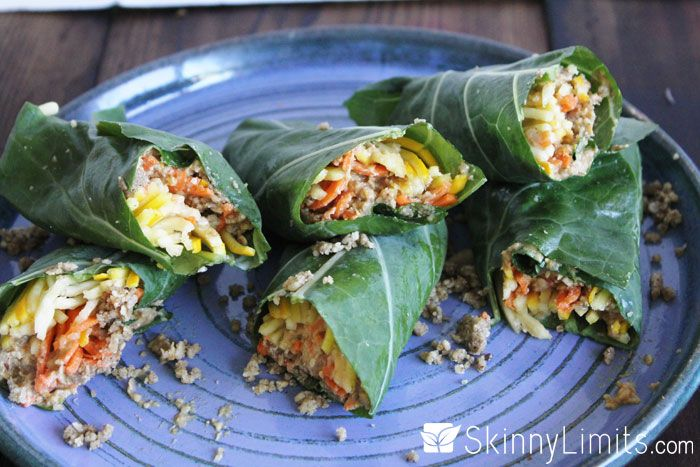 "Raw Vegan Burrito Wrap Recipe with Sunflower ""Meat"" and Zucchini Cheese wrapped in collard green leaves! Delicious!"