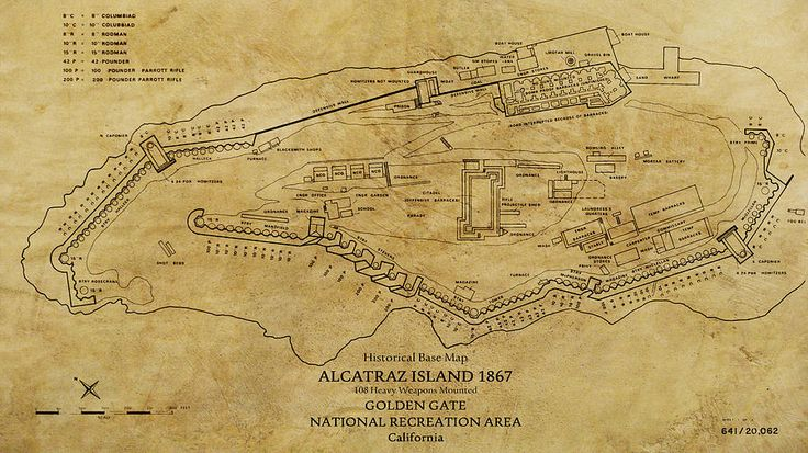 Fortress Alcatraz 1867 - a military map showing the positions and size of the 108 cannons lining the island to protect San Francisco