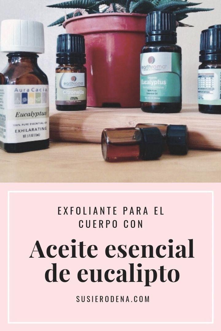 Exfoliante casero para el cuerpo con aceite de eucalipto #recetascaseras #trucosdebelleza #exfoliante #cuerpo #eucalipto Citronella, Shampoo, Essential Oils, Soap, Personal Care, Skin Care, Bottle, Beauty, Mini