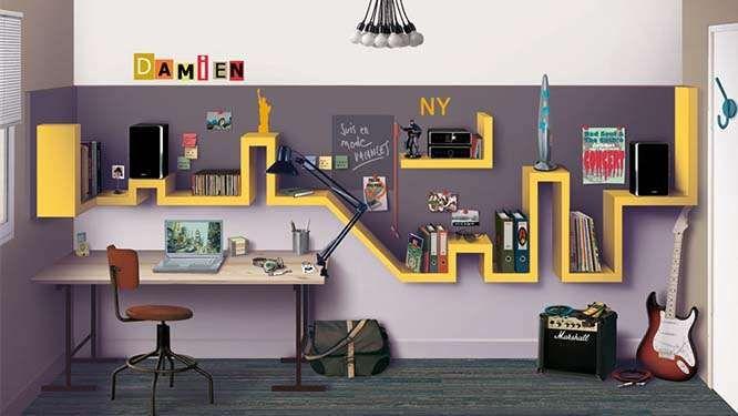 Etagères murales urbaines pour une chambre d'ado New York