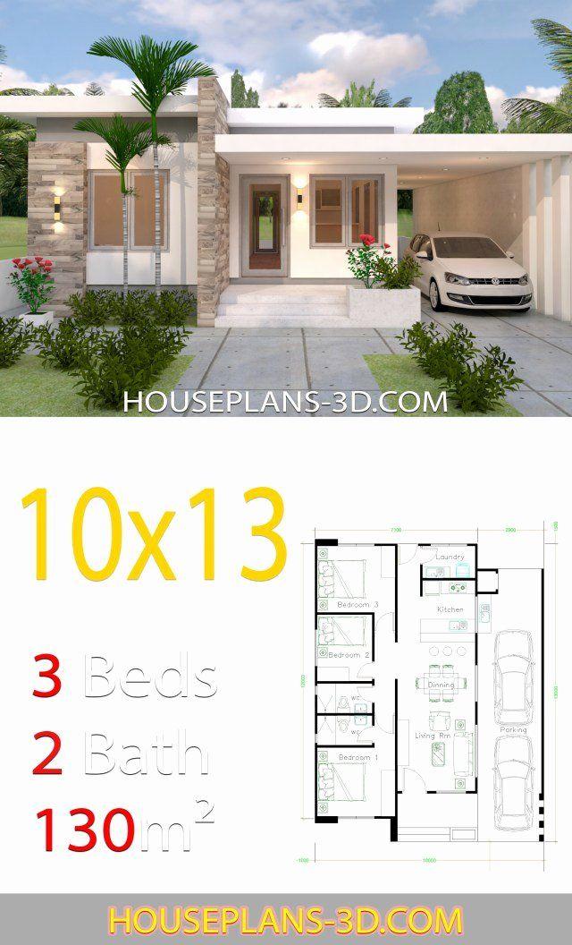 10 X 13 Bedroom Layout Inspirational House Design Plans 10x13 With 3 Bedrooms Full Plans Em 2020 Fachadas De Casas Terreas Plantas De Casas Projectos De Casas