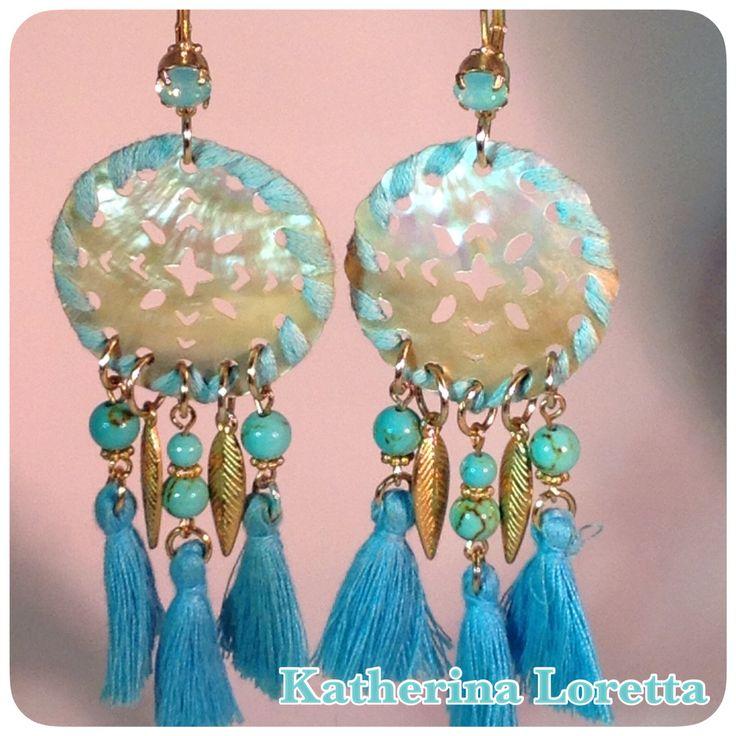 Earrings shell/turquoise
