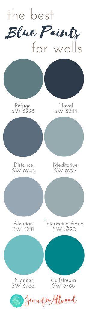 the best Blue Paints for walls   Magic Brush   Jennifer Allwood's Top 50 Wall Paint Colors   Paint Color Ideas   Best Blue Hues   Interior Paint Colors   Paint Colors for Living Rooms   Paint Colors for Boys Rooms