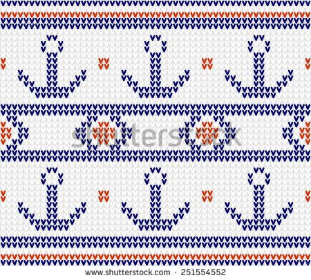 Marine pattern knitted anchor. Vector seamless pattern