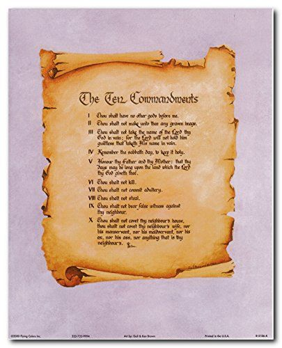 Ten Commandments Catholic Christian Religious Quote Wall Decor Art Print Poster (16x20)
