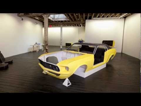 Jonathan Brand's Paper Mustang - because he had to sell the Mustang that he & his Dad restored together, he recreated it in a full-scale model, as a paper sculpture.