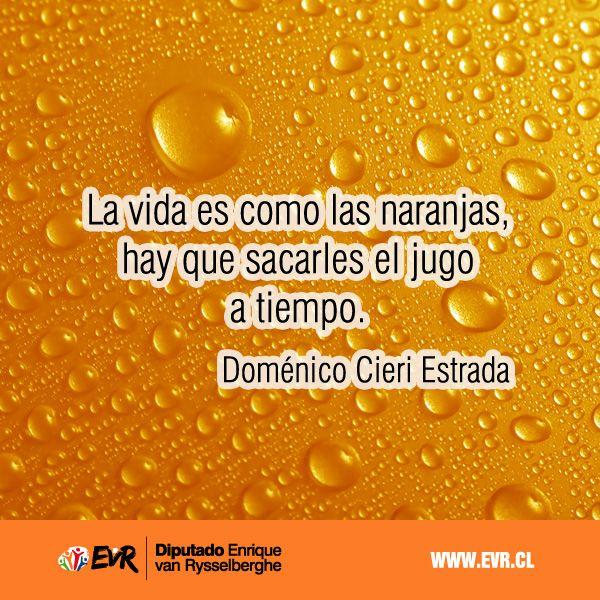 """""""La vida es como las naranjas, hay que sacarles el jugo a tiempo"""". Doménico Cieri Estrada."""