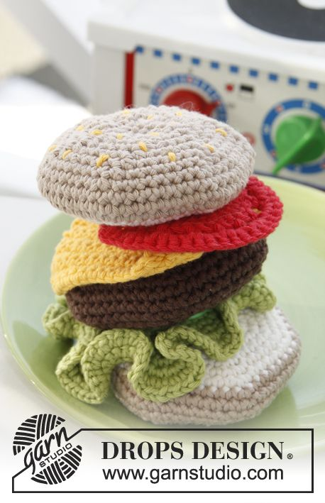 "Free pattern! #crochet DROPS hamburger in ""Paris"""