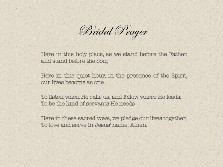 Quot Bridal Prayer Quot Composed By Roger Copeland The Lyrics