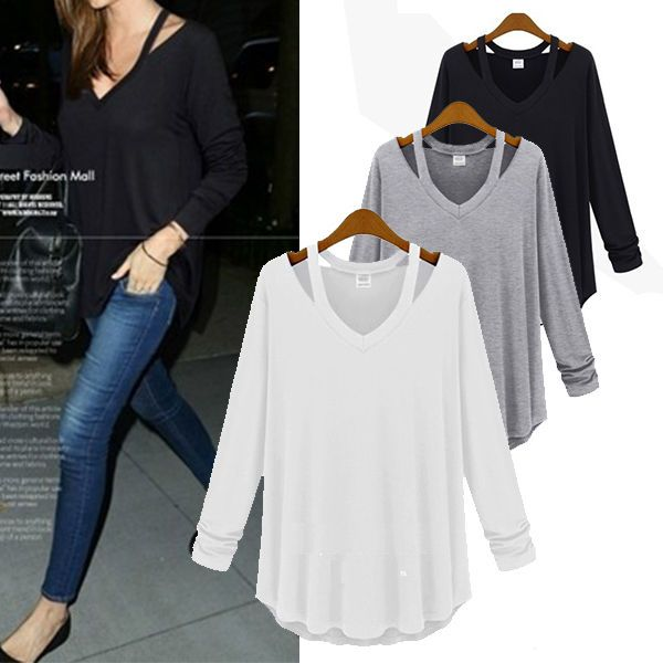 Sexy Women Off Shoulder Irregular Hem V Neck Loose Tops Casual T Shirt Blouse