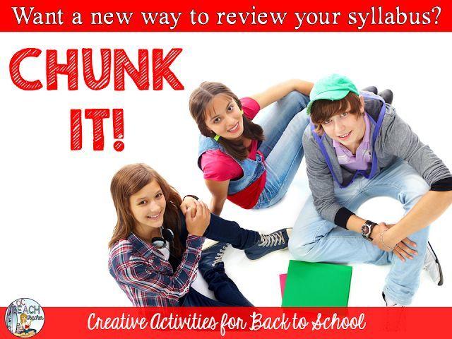 Don't just read the syllabus!  Chunk it!