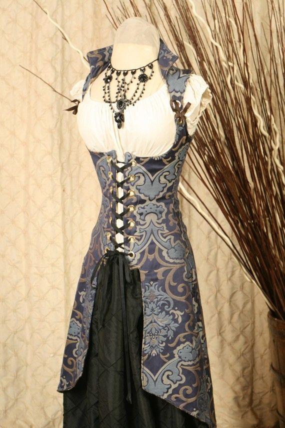 blue peacock tailed vixen corset