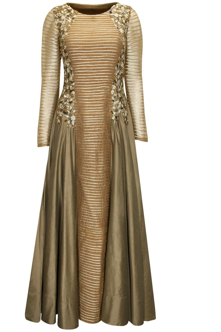 Bronze sequins and zari embroidered striped anarkali set available only at Pernia's Pop-Up Shop.