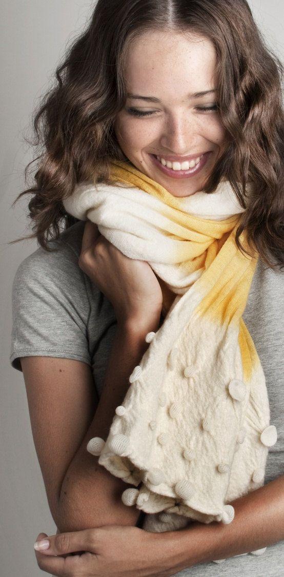 Acid Neon Yellow scarf, $90.00   #fashion #neon #accessories #felt: Handmade Scarves, Neon Accessories, Yellow Scarfs, Scarfs Hands, Hands Dyed, Yellow Scarves, Acid Neon, Accessories Felt, Neon Yellow