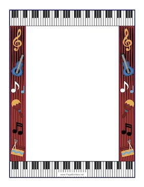 This music border is built around a musical motif with keyboard, musical notes, guitar, maracas, and percussion. This would be great for concert flyers. Free to download and print.