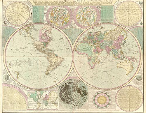 antique world maps giclee reproduction either unframed or framed in vintage wood burl frame made in usa by museum outlets