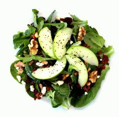 Mixed green salad with Gorgonzola, Pancetta, Walnuts, Apple, Cranberries, and Pine Nuts with a balsamic vinaigrette
