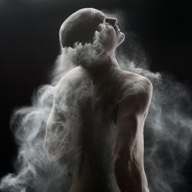 "Olivier Valsecchi's work Time Of War. But Olivier does not use flour or pigments and he opted for ashes instead. Which makes sense as this series is about Samsara – ""the denial of death, and the hope for an extended or endless living"""
