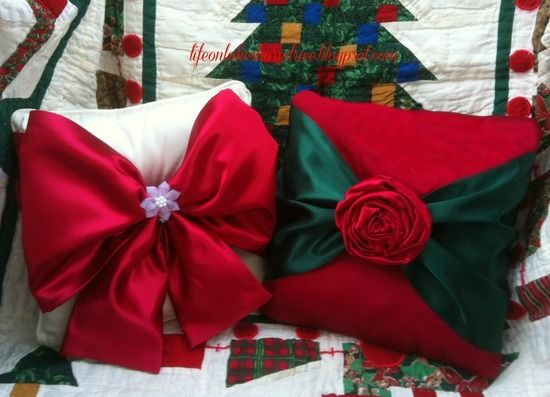 Easy No Sew Christmas Pillows