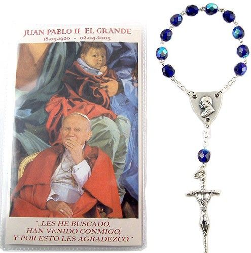 Blue Crystal Beads Papal Decade Finger Rosary with a short biography of Pope John Paul II (Spanish) enclosed in a durable plastic pocket. Made in Italy.