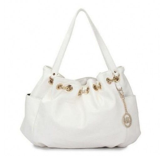 Michael Kors Chain Ring Large White Shoulder Bags [mk_1666]