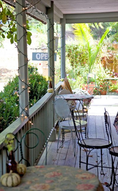 This is a front porch down in Brown County, near Bean Blossom, at a farm house turned cafe and tea room.