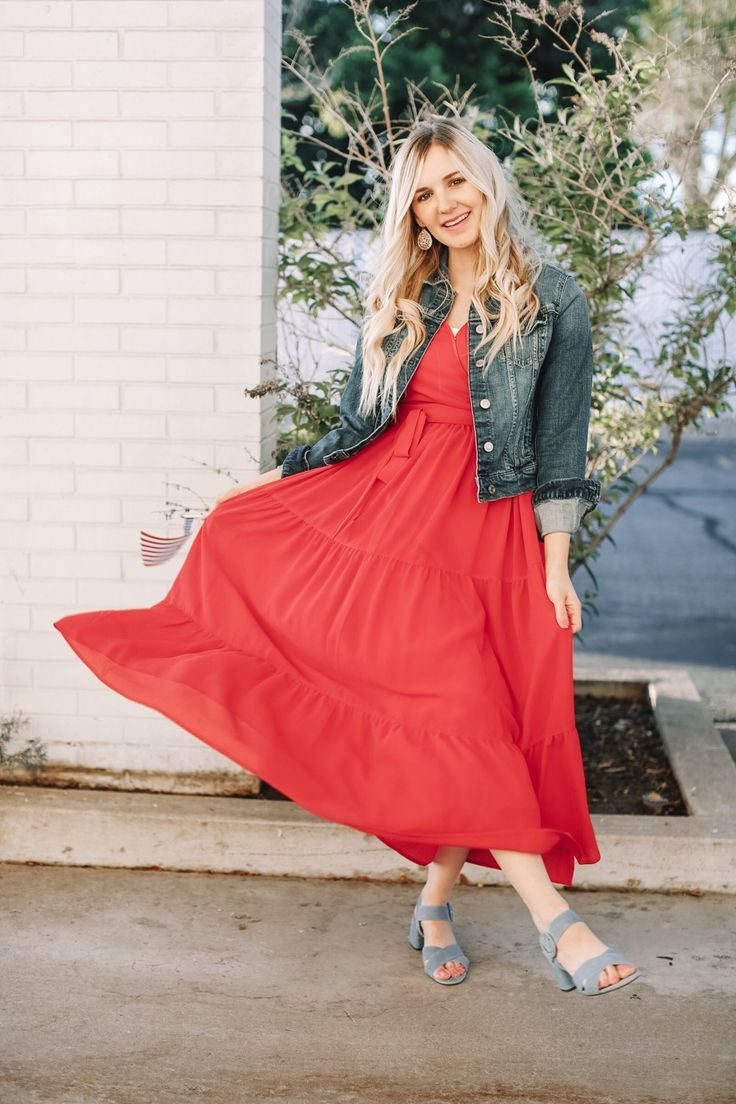 4th Of July Outfit Inspiration Part 4 Red Dress Red Maxi Dress Rachel Parcell Dress Denim Jacket Four Red Dress Casual 4th Of July Outfits Red Dress Maxi [ 1104 x 736 Pixel ]