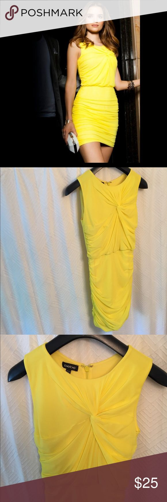 Bebe yellow dress! Fun little yellow dress from Bebe. Super flattering rouching. Great for a night out with the girls!  Light small stain on front near the fabric twist but barely noticeable. bebe Dresses Mini