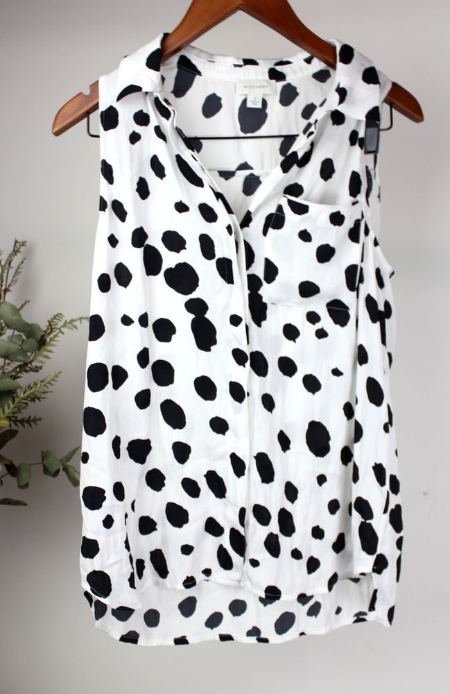 0282594bfdfa38 WITCHERY Ladies - Size 12 - White & Black Sleeveless Cow Print Spotted Shirt  Top #