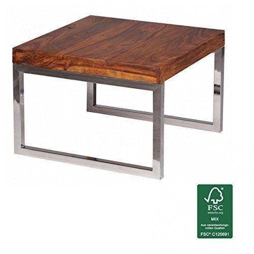 FineBuy Beistelltisch Massiv Holz Sheesham Wohnzimmer Tisch Mit  Metallgestell Landhaus Stil Couchtisch Dunkelbraun