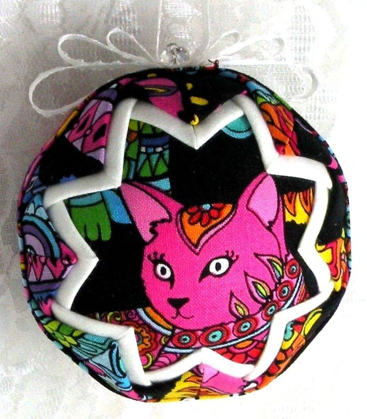 BEAUTIFUL NEON CAT W/2ND CAT ON BK CAT LOVERS ONLY QUILTED BALL ORNAMENT NEW B35
