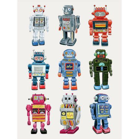 Oopsy Daisy - Vintage Robot Canvas Wall Art 10x14, Christine Berrie